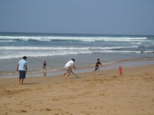 Cricket on the Beach - Proving Aussies can really bat well, even if they are female!